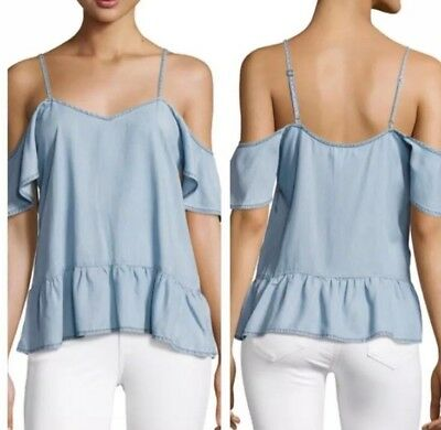 94d165edd6445c Paige Womens Top Size Medium NEW Blue Chambray  169 Mitzi Cold Shoulder  Peplum