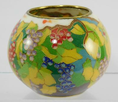 Fine Chinese Cloisonne Yellow Leaves & Red Blue Pink Grapes Enamel on Glass Bowl
