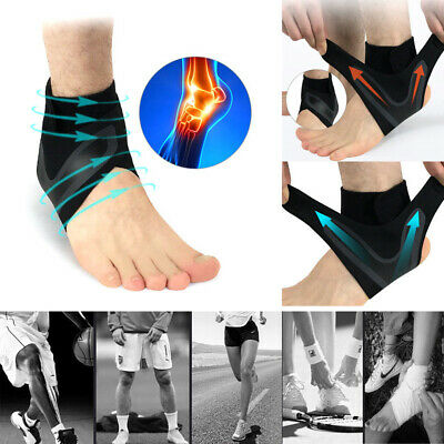 Strong Black Adjustable Ankle Foot Support Elastic Brace Guard Football Basketba