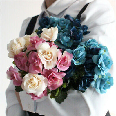 Fake Silk Rose Artificial Flower Home Decoration Party Wedding 15 Heads 1pc DIY