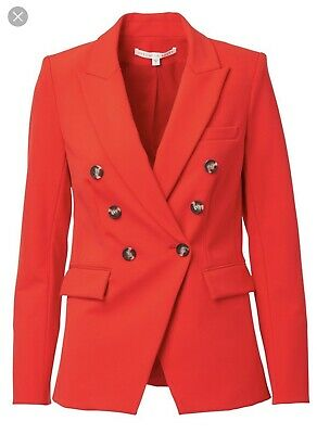 3803d3bbe39c2 Veronica Beard Poppy Red Double Breasted Dickey Compatible Jacket Size 8