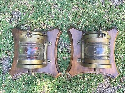 Ships Lamps Vintage Brass Genuine Military Pair Wall Mountable