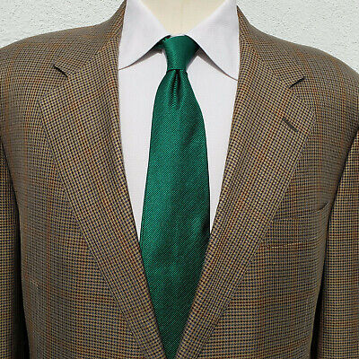 Canali Silk & Wool Houndstooth w Windowpane 2 Button 2 Vent Sport Coat 44L Italy