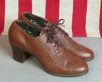 "Vintage 1930s Enna Jettick Leather Lace Up Womens Shoes Heels 9 1/4"" Length 6.5"