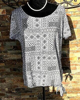 48895b48abdea PRANA Black Short Sleeve Tribal Print Burnout Lightweight Shirt Size Small