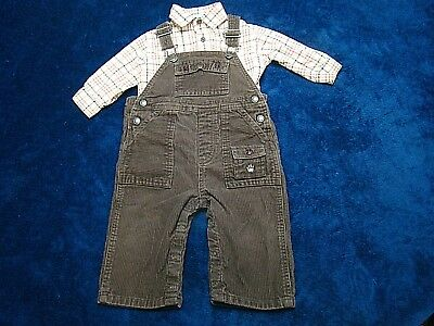Janie And Jack 2 Piece Boys Brown Corduroy Overalls Plaid Shirt Size 6-12 Months