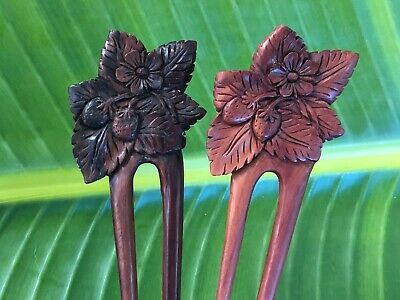 Two/2 Prongs Carved  STRAWBERRY FLOWER Wooden Wood HAIR FORK PIN PICK STICK. NEW
