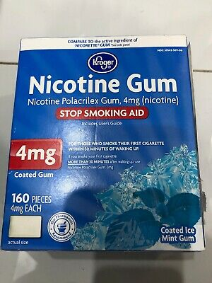 Kroger Nicotine Coated Gum  4mg Ice Mint 160 Pieces NEW Exp 09/20