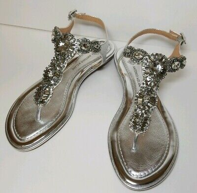 f91ea8a81894 Nwt 7.5 Antonio Melani Bling Jeweled Silver T Strap Sandals. Size 7.5