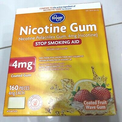 Kroger Nicotine Coated Fruit  Wave Gum 4mg 160 Pieces NEW Exp 08/20