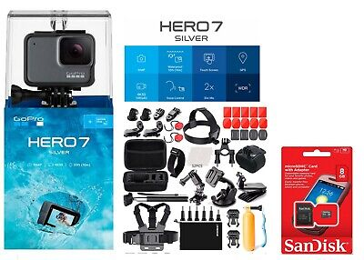 NEW SEALED GoPro HERO7 SILVER HD Waterproof Action camera 50 Sports Accessories!