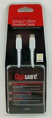 2 4-pin To 9-pin FireWire  Cable LOT OF Gold Plated #1500007 GigaWare 6ft