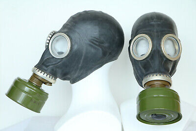 WW2 SET of two BLACK SOVIET RUSSIAN Gas Masks GP-5 with filters + hose funy gift