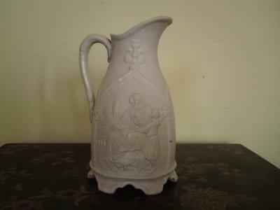 19thc White Ironstone jug depicting Samuel and Eli