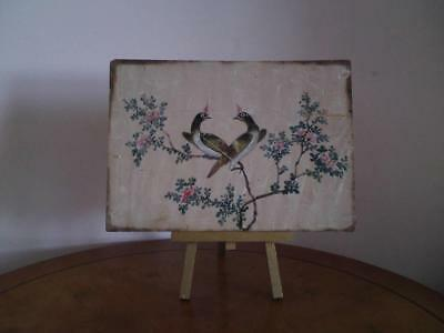 Qing Dynasty Rare  鸽 Chinese watercolour painting of exotic birds on rice-paper