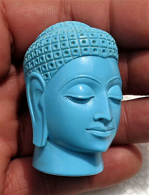 CINA (China): Very fine and old Chinese Buddha head carved in Turquoise paste