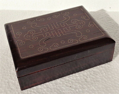 CINA (China): Fine Chinese rosewood box inlaid with silver