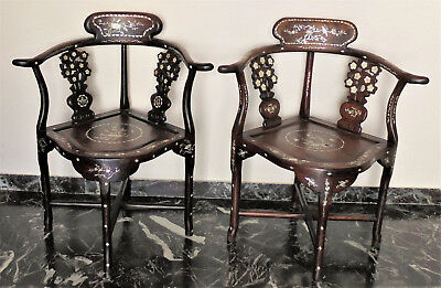 CINA (China): Pair of old Chinese Rosewood chair inlaid with mother-of-pearl