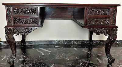 CINA (China): Old and fine Chinese Rosewood (or Zitan?) carved desk table