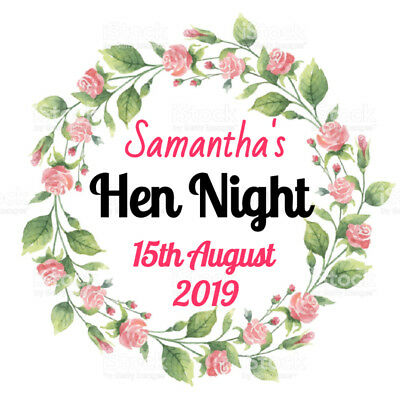 35 x 37mm Personalised Hen Do Party Night Stickers /Labels