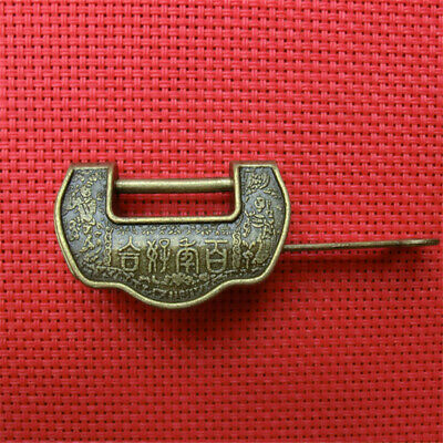 Curio Retro Vintage Carved Lock Padlock Brass Chinese Styles Words Locks & key