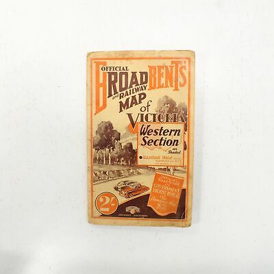 Vintage 1949 Broadbents Official Road/Railway Map of Victoria #316
