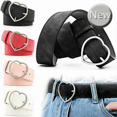 Ladies Women Heart Buckle Belt Dress Jeans Faux Leather Adjustable Waistband UK