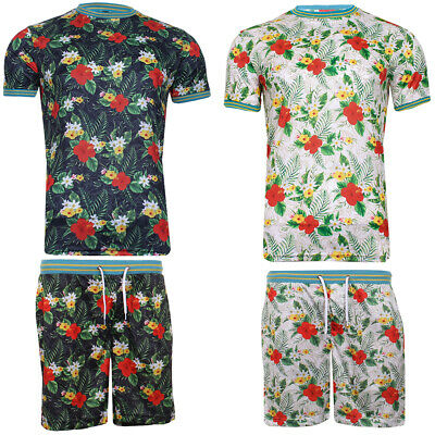 Mens Holiday Fun Print Hawaiian Matching T-Shirts and Shorts By Brave Soul