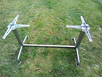 1950's - 1960's Chrome and Brushed Aluminum Table Base with Solid Wood Top