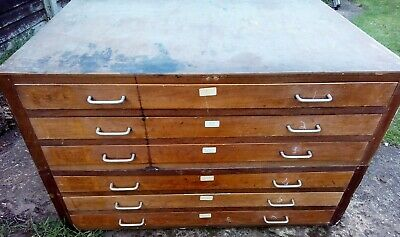 Industrial Antique Vintage Mahogany School / Architects Plan Chest / Drawers