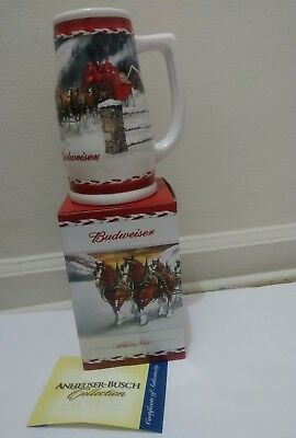 """Anheuser Busch Budweiser Mug 2010 Clydesdale Annual Holiday Beer Stein Size 7"""""""