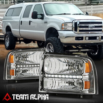 Fits 2005-2007 Ford F250/F350 SD <LED DRL> Chrome/Clear Amber Corner Headlight