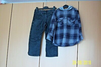 Bundle Boys Clothes 4 Year Black Jeans & Black/Grey Checked Shirt With Hood Next