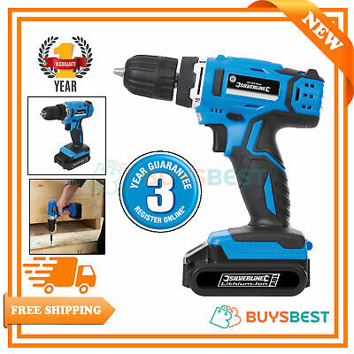 Silverline 18V DIY Cordless Lithium Power Drill Driver Electric Screwdriver Blue