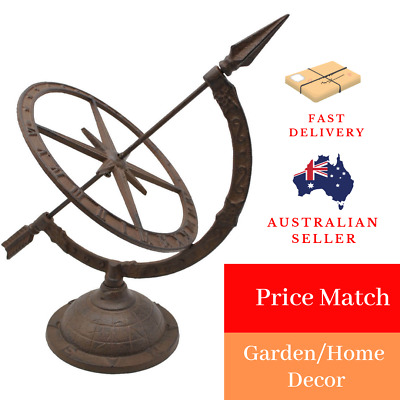 BeautifulTraditonal Cast Iron Sundial Antique Rust Garden Yard Outdoor Must have