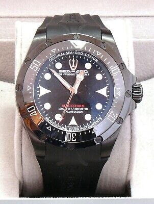 Sea God Blackstorm Diver All-Black Self-Winding Professional Watch 142001AN NEW