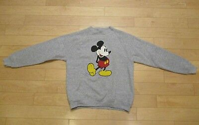 Vtg 80s Mickey Mouse Tri Blend Raglan Sweatshirt Made In USA EXCELLENT XL