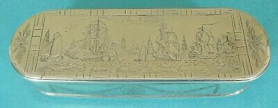 Rare Dutch Sterling Silver Box Ship Church Amsterdam Oudekerk Ports Jan Bot 1778