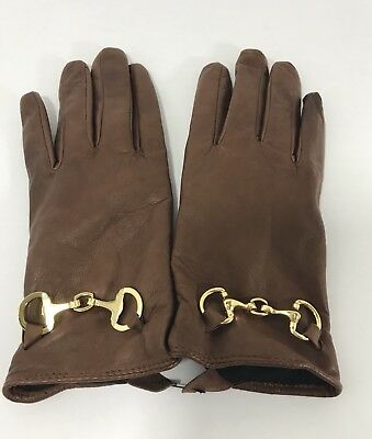 Womens Brown Leather Gloves Small Dillard's NEW