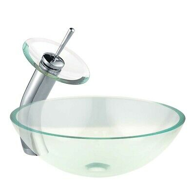 Bathroom Round Vessel Sink Basin Tempered Glass with Pop Up Faucet Waterfall Tap