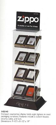 8 Piece Vintage Zippo Lighters Display Case Counter Unit #142145 NOS