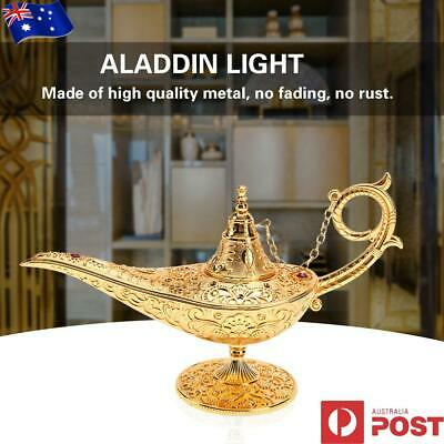 Metal Carved Hollow Aladdin Lamp Magic Genie Vintage Teapot Arts Craft 20*7*12cm