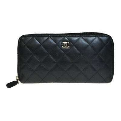 14495f6d0a81fe Auth Chanel Matelasse A50097 Leather Long Bill Wallet (bi-fold) Black Lamb  Skin