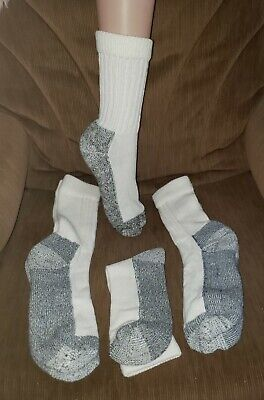 3 Pair Vintage Socks w/ Cushioned Soles White & Gray NEW - OLD STOCK* irregulars