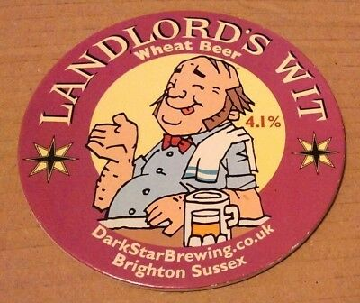 Beer pump clip badge front DARK STAR brewery LANDLORD'S WIT cask ale sussex
