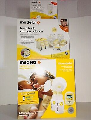 Medela Freestyle Mobile Double Electric Breast Pump Bundle Set W/ Storage & Bags