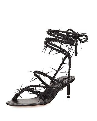 b5dc225dc52 NEW without Box Alexander Wang Kiki Barbed Wire Sandal Black Size 6.5 HOT  RARE