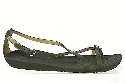 a5735f809d6 CROCS WOMENS SIZE 10 Isabella Graphic Strappy Blue Flat Sandals NWT ...