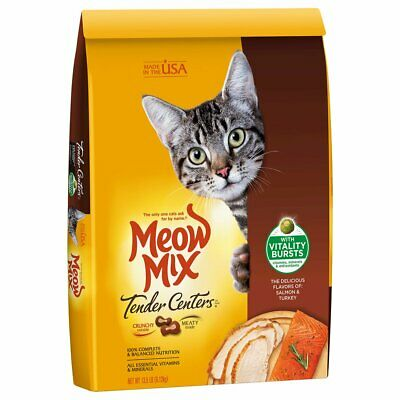 Meow Mix Tender Centers Dry Cat Food, Salmon&Chicken(Turkey) or Tuna&Whitefish