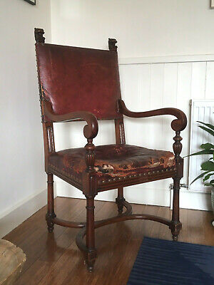 Large Unrestored Antique Victorian Lion Head Leather Carver Chair, Hall, Throne